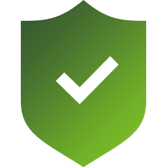 Green shield with checkmark showing file encryption security for virtual data rooms.