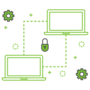 Green and grey vector icon illustrating CapLinked api security features